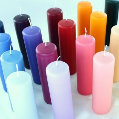 Bloklys i forskelige grundfarver, fåes også med forskellige dekorationer.